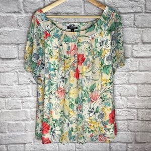 3X Floral Blouse Short Sleeve Top Bright Colors